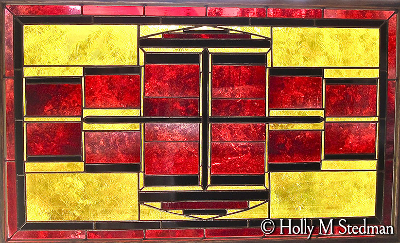 Stained glass panel with rectangular geometric design