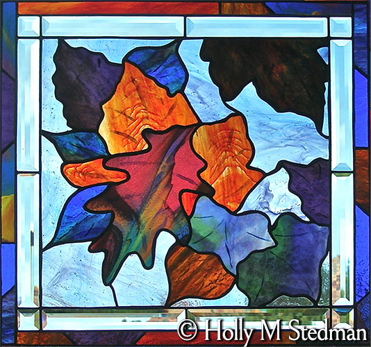 Stained glass panel of autumn leaves
